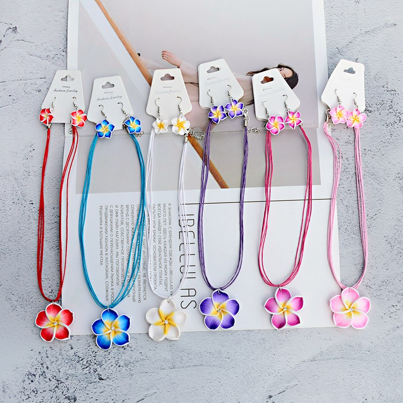 TopHanqi 2019 1set 6color Summer Beach Hawaiian Clay Fimo Frangipani Flower Necklace Earrings Jewelry Sets For Children Girls