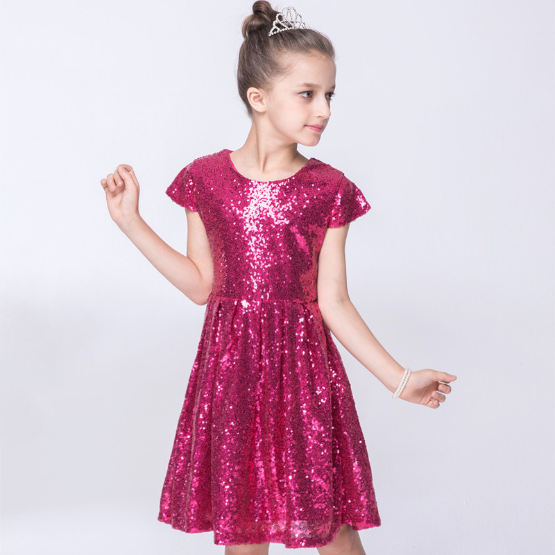 3 Colors Offer Hot Sale Korean Princess Toddler Girls Fashion Glitter Short Sleeve O-neck Sequined Lovely Fashion  Dress hot sale halter beading sequins short homecoming dress