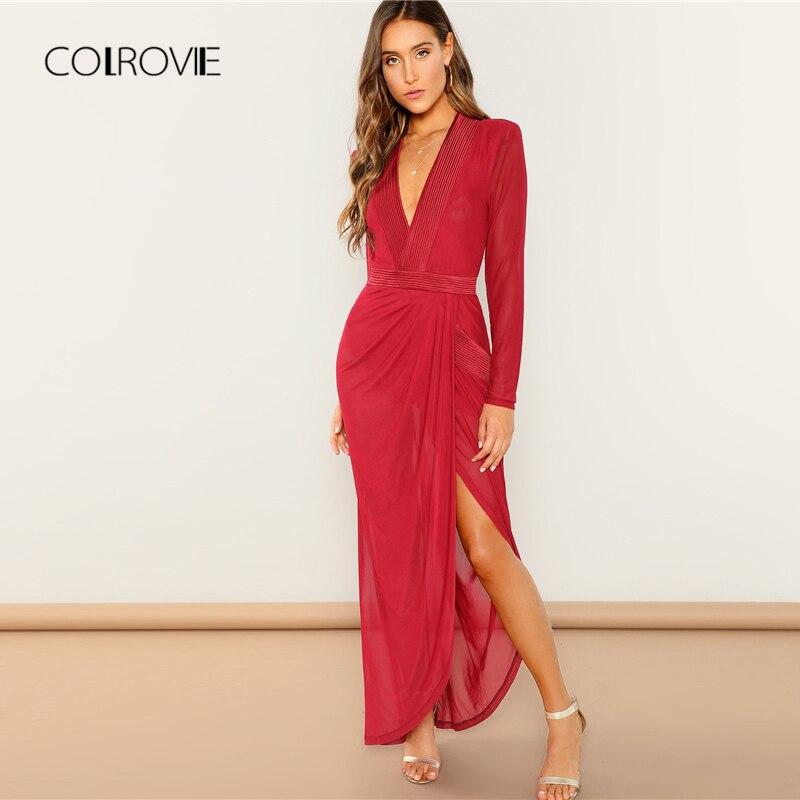 COLROVIE Red V Neck Asymmetric Wrap Draped Winter Party Dress Women 2018 Autumn Long Sleeve Sexy Dress Elegant Maxi Dresses