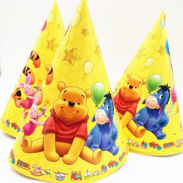 6pcs Kids Birthday Party Supplies Winnie The Pooh Plastic Paper Hats
