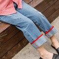 Весной 2017 Корейской версии новых прямые широкие ноги штаны мешковатые джинсы девушка брюки широкую ногу сыпучие, вскользь тип