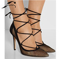 Plus Size 40 sexy high heel shoes woman 2017 European pointed toe Heels Sexy Pumps Hollow Out Cross tied Women's shoes Black