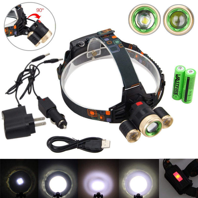 Tactical Light 15000LM XML-T6+2R5 LED Zoomable Camping LED Outdoor Lamp Torch USB 4 Modes Head Light +Charger+ USB Line