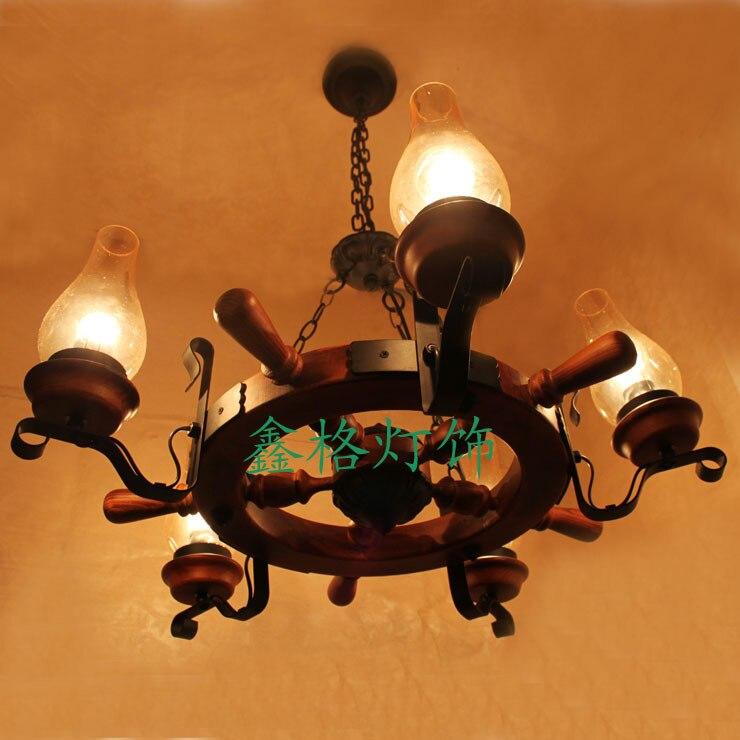 Massief houten Roer smeedijzeren hanglamp woonkamer restaurant lamp ...