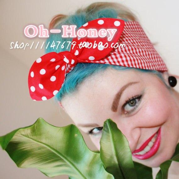 las mujeres de la vendimia s red white polka dot y guinga diadema accesorios para