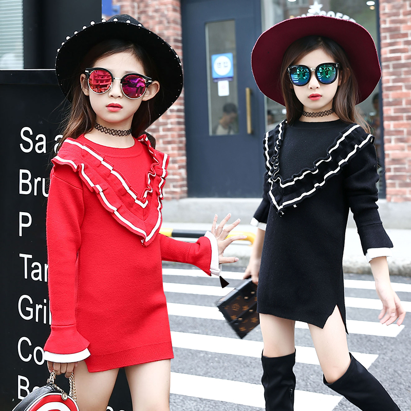 2017 Hitz Korean girls big virgin girls fashionable casual cotton long sleeved peach collar dress children