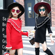 2017 Hitz Korean girls big virgin girls fashionable casual cotton long-sleeved peach collar dress children's clothing