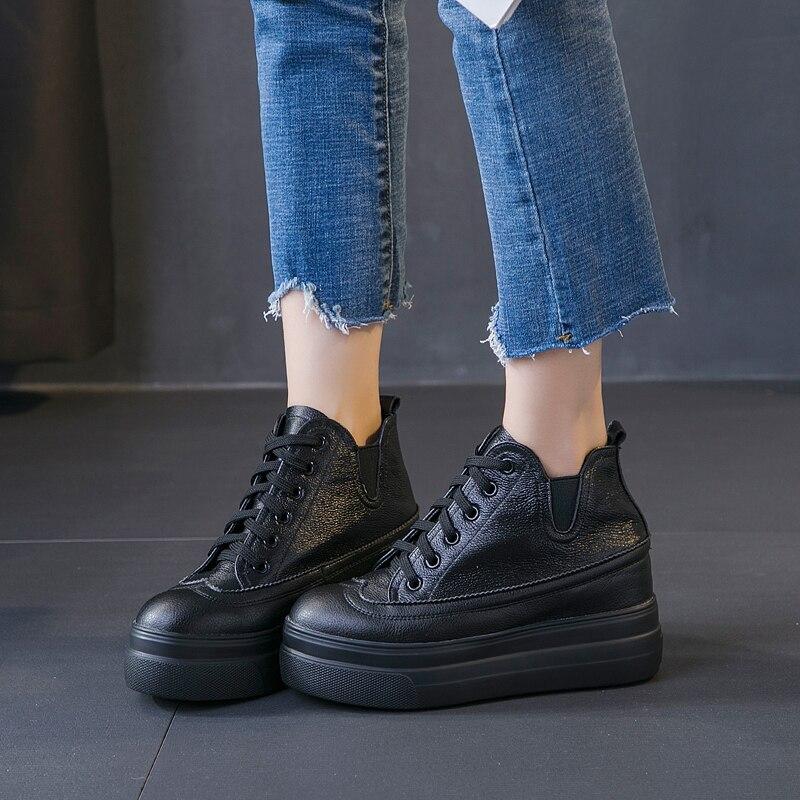 Véritable cuir bottines femmes hauteur augmentant plate-forme chaussures pour femme hiver chaud chaussures noir blanc chaussures à semelles compensées LORFRCIN