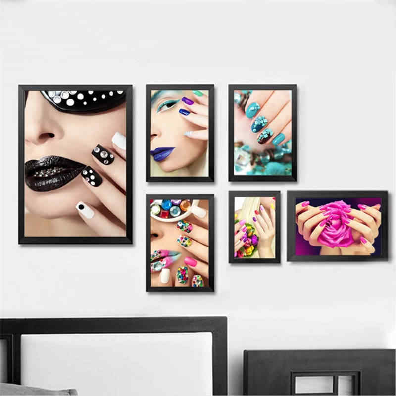 Nordic Modern Fashion Women Beauty Nail Art Canvas Painting Poster Prints Wall Pictures for Beauty shop Home Decoration No Frame