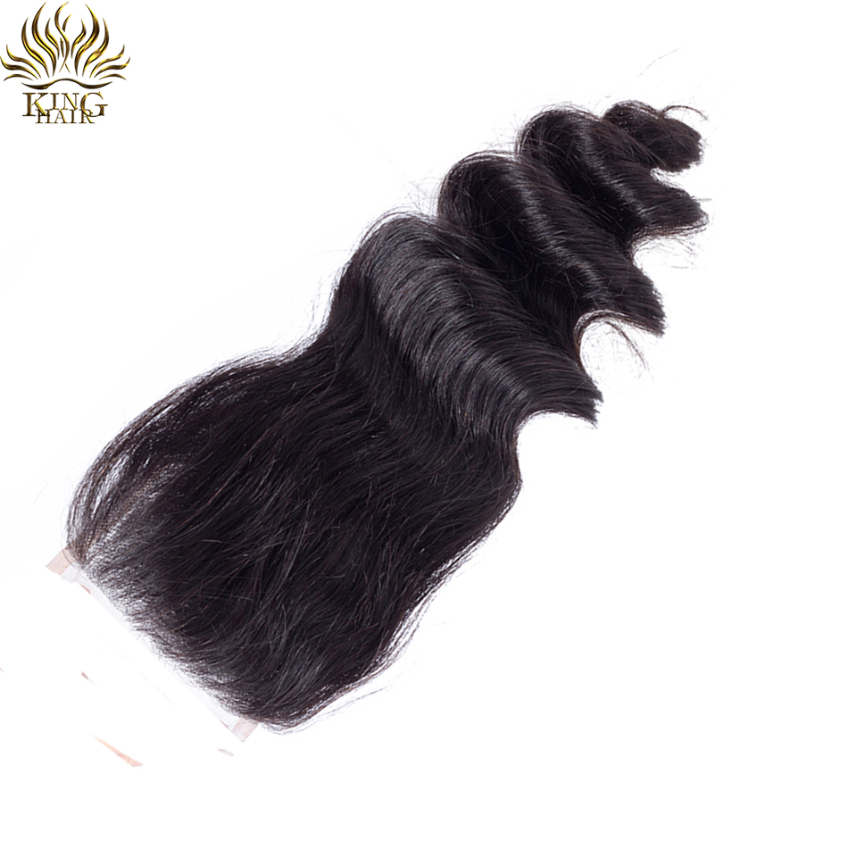 King Hair Loose Wave Brazilian Hair Weaves 4*4 Free Part Lace Closure Swiss Lace 130 Density Remy Hair 100% Human Hair Bundles