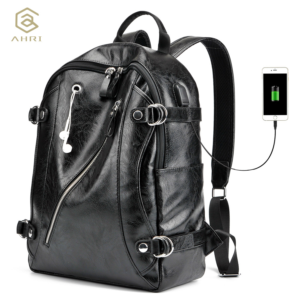 AHRI NEW 2017 Men Backpack PU Leather Men s Shoulder Bags Fashion Male Business Casual for