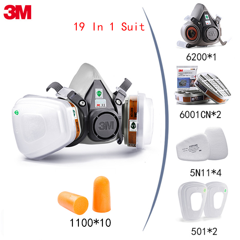 3M 6200 19 In 1 Suit Dust-proof Mask for Spraying Paint Pesticide Chemical Gas Industrial With 1100 Anti-noise Earplugs(China)