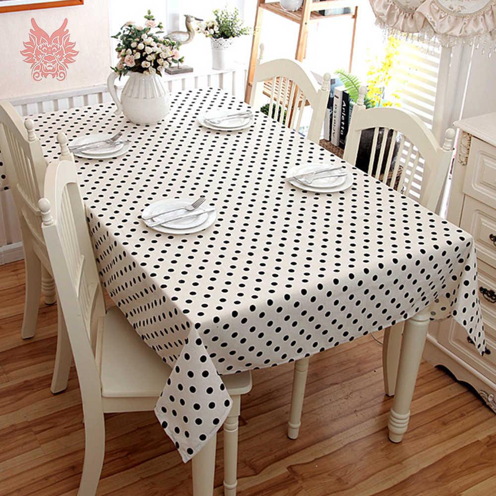 Moderne eenvoud Katoen zwart dot rechthoekige tafelkleed 140*220 cm salontafel doek Schoorsteenmantel de lino de algodón SP5750