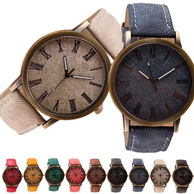 Retro Vogue WristWatch Cowboy Leather Band Analog Quartz Watch Bayan Kol Saati Erkek Kol Saati Relogio Masculino Watch Men