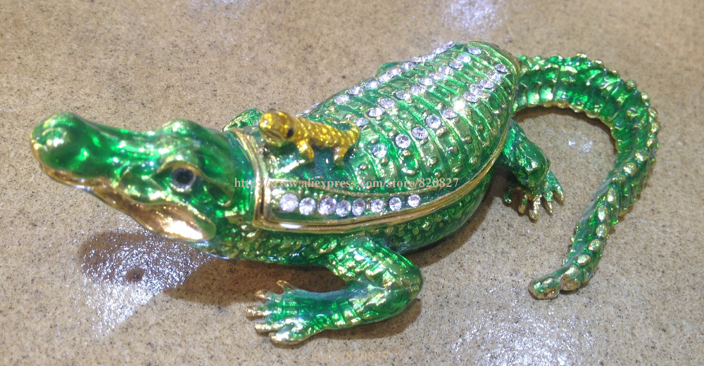 Mother and Baby Crocodile Trinket Box Crocodile & Baby Jewelled & Enamelled Trinket Box or Figurine