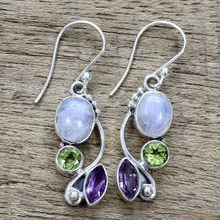 natural moonstone vintage ethnic bohemia 925 Silver earrings for women multi-color zircon India jewelry Gifts