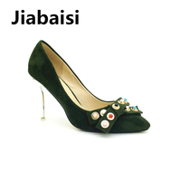 Jiabaisi Shoes Women Pumps Gemmy Rivets Silver Plating Pointed Toe Spike Heel Pumps Classics Party Slip