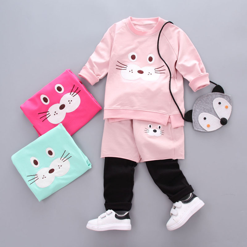 Baby Girl Clothes 2017 Spring Autumn Baby Clothing Sets Cute Animal Print Pullover Coat +Sport Pants 2Pcs Baby Infant Clothing