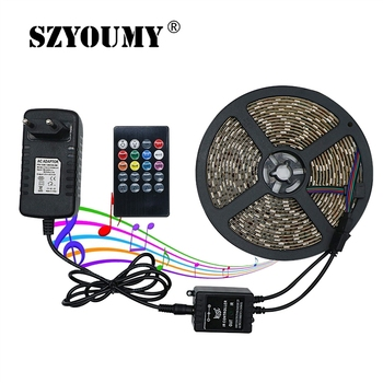 SZYOUMY 5M RGB Led Strip Light Waterproof SMD 5050 2835 Flexible Diode Tape LED Strip With Music Remote Control+DC 12V Adapter