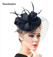 Black Ivory Round Sinamay Fascinator Feather Hats Birdcage Veil Fascinators Flower Hairclip Church Cocktail Party Bride Hats