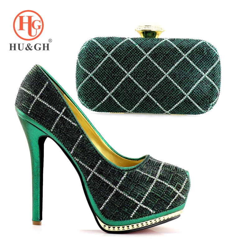 Shoe and Bag Set New 2018 Women Shoes and Bag Set In Italy Green Color Italian Shoes with Matching Bags Set Decorated with Stone doershow italian shoes and bags to match shoes with bag set decorated with rhinestones women shoes and bag set in italy paa1 10