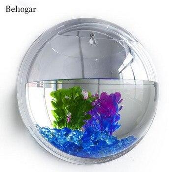 Behogar Dia15cm Mini Acrylic Round Fish Bowls Wall Mounted Hanging Aquarium Tank Aquatic Pet Flower Plant Vase Tank Fishbowl