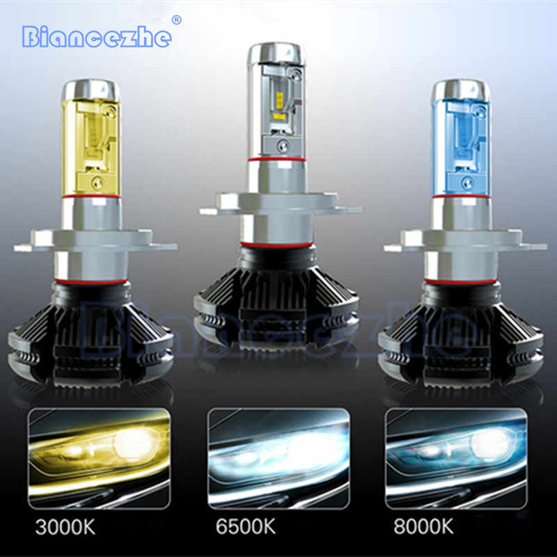 X3 ZES H4 H7 LED Car Headlight Bulb 3000K/6500K/8000K Yellow White Ice Blue Auto Lamp H1 H3 H11 9005 9006 9012 LED Car Light