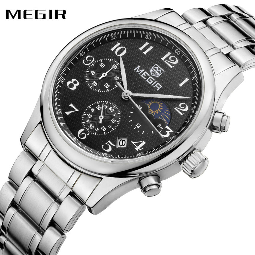 MEGIR Business Watches for Men Stainless Steel Strap 24-hour Chronograph Dial Top Brand Fashion Quartz Wristwatches Reloj Hombre mike davis knight s microsoft business intelligence 24 hour trainer