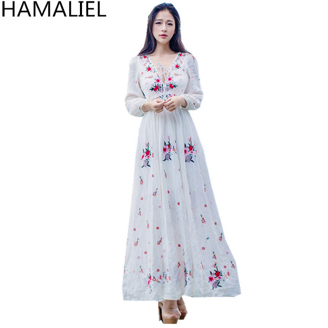 9bbd51a66e Women Boho Dresses 2018 Summer White Floral Embroidery Long Sleeve Cotton  And Linen Sexy Deep V Neck Holiday Beach Maxi Dress