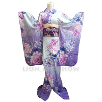 Japanese Geisha Traditional Women Blue Floral Furisode Kimono Cosplay Costume