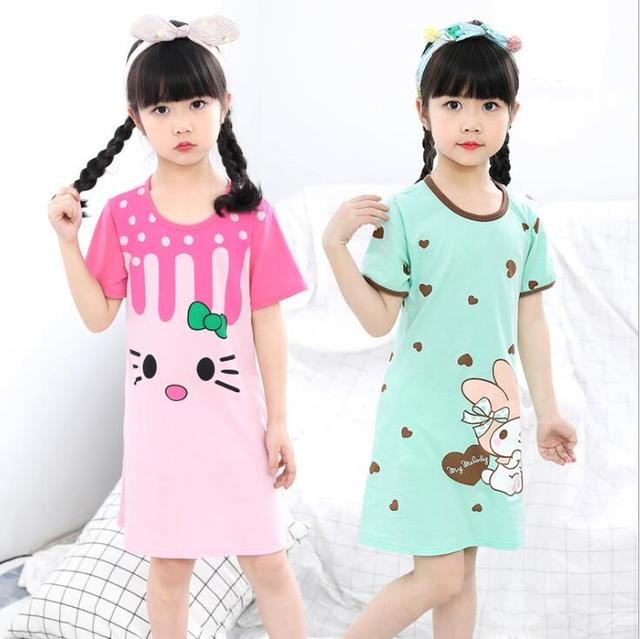 New  summer children's sleepwear girls cotton short-sleeved dress fashion print pajamas skirt girls sleepwear large size