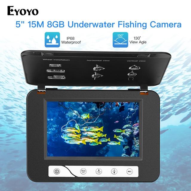 "Eyoyo EF15R 5 ""15 متر 1000TVL Fishfinder 8 جيجابايت DVR 4 قطعة الأشعة تحت الحمراء + 2 قطعة المصابيح البيضاء تحت الماء الجليد صياد السمك الصيد كاميرا"