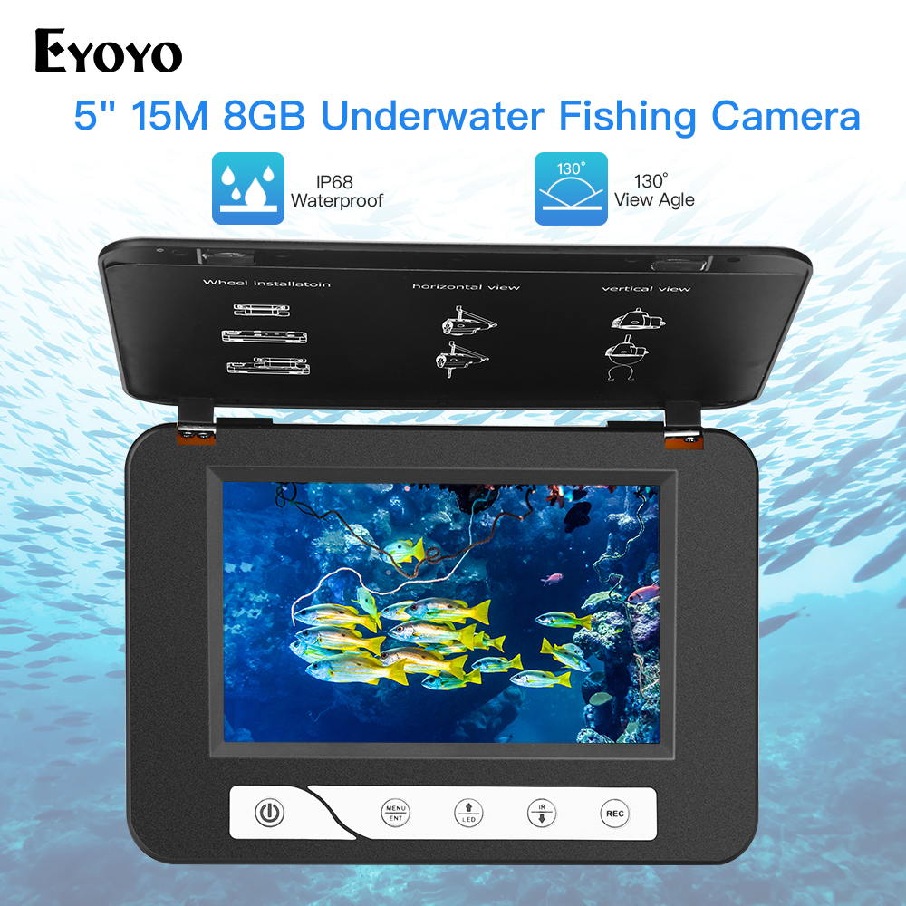 "Eyoyo EF15R 5"" 15M 1000TVL Fishfinder 8GB DVR 4pcs Infrared+2pcs White Leds Underwater Ice Fish Finder Fishing Camera-in Fish Finders from Sports & Entertainment"
