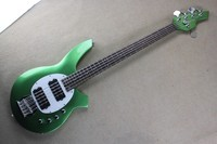 Free Shipping Factory Wholesale High Quality 5 Strings Music Man Bongo Green Electric Bass Guitar with Active Pickups 14 1221