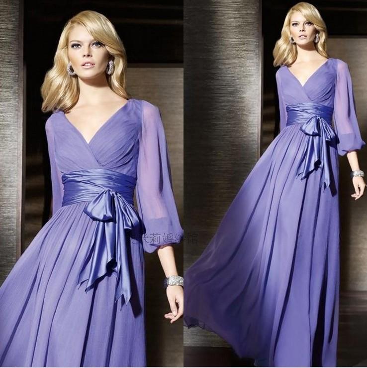 Robe De Soiree Fashion Abendkleider Long Sleeve Bow Belt Chiffon Vestido De Festa Party Gown Evening Mother Of The Bride Dresses