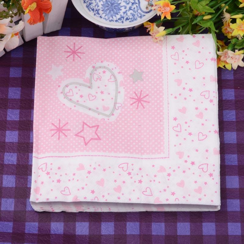 33*33cm 20 PCS/Pack Pink Heart wedding Paper Napkin 100% Virgin Wood Paper Napkin for party dinner decoration