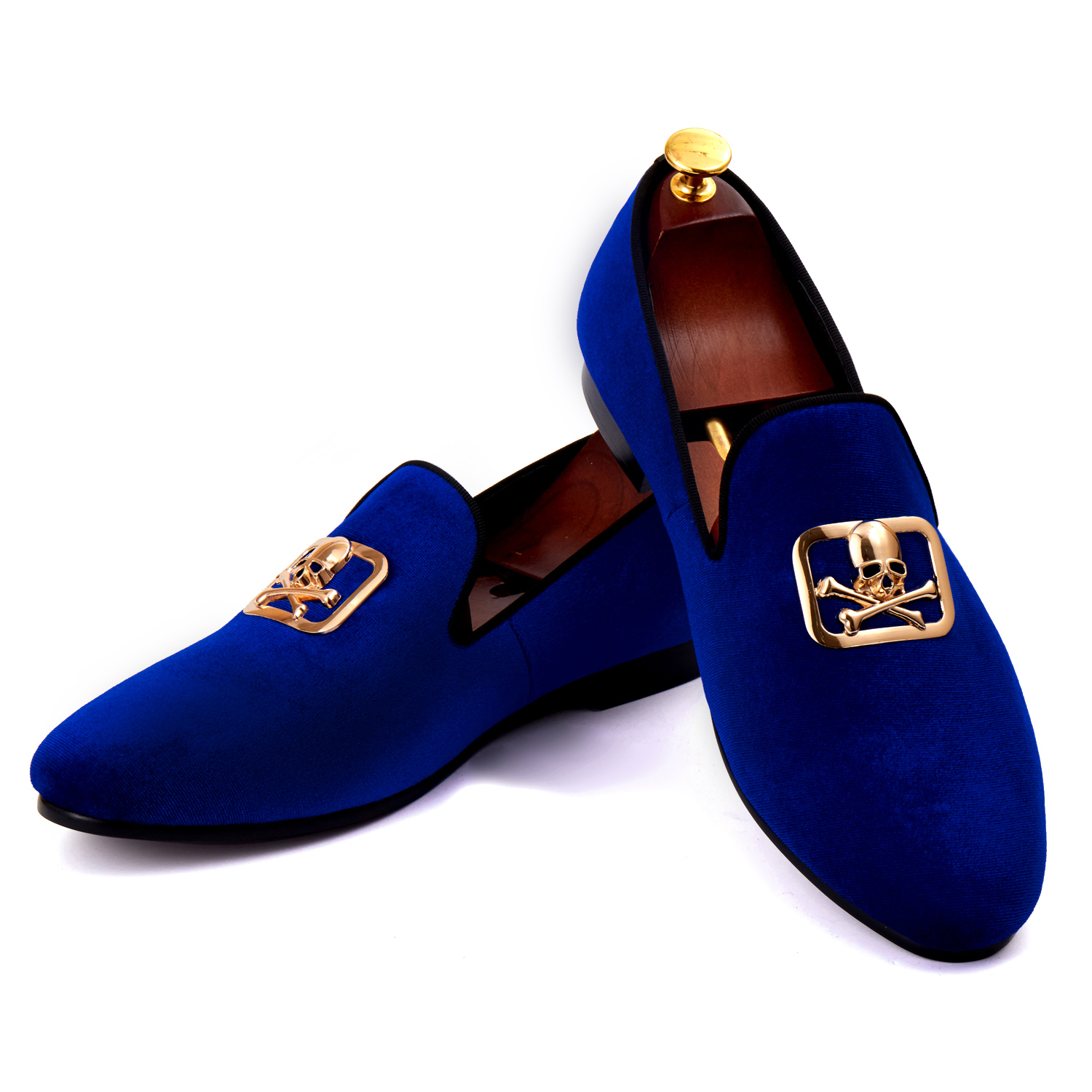 Harpelunde European Men Shoes Blue Velvet Loafers Skull Buckle Dress Shoes Size 6-14