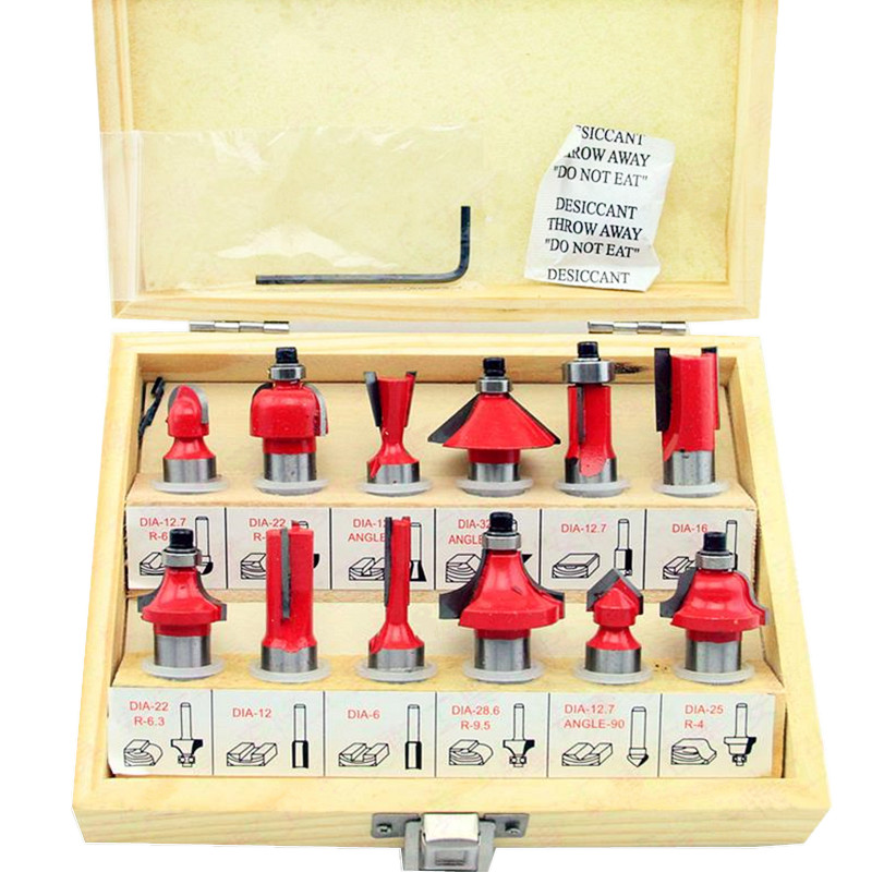 цена на 1/2 Router Bit Set Carbide Tipped Kit Wood Working Drill Bits Professional Multi-Purpose