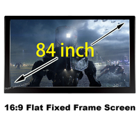 Home Cinema Screen 84 inch Diagonal With 16:9 Flat Fixed Frame 3D Projector Screens 80mm Black Velevt
