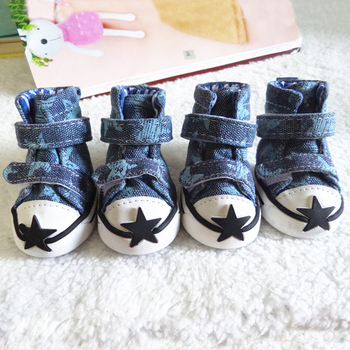 4Pcs/Set Puppy Pet Dog Shoes Sport Casual Anti-slip Boots Sneaker Shoes For Chihuahau Star Printting For Small Dog Shoe