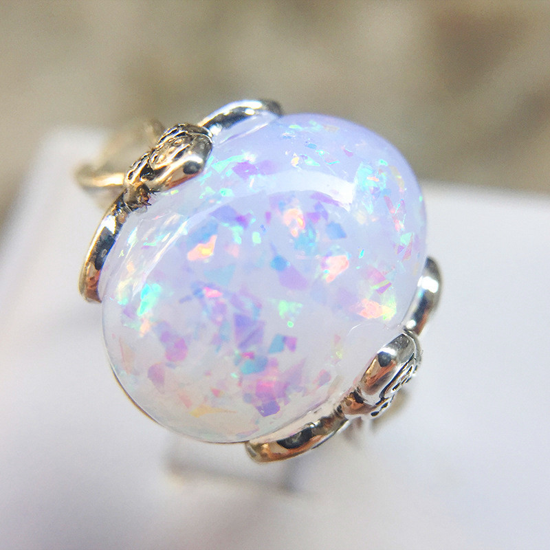 Wedding-Ring Opal Jewelry Luxury Gorgeous 925-Silver Women Fashion Pink/blue Big