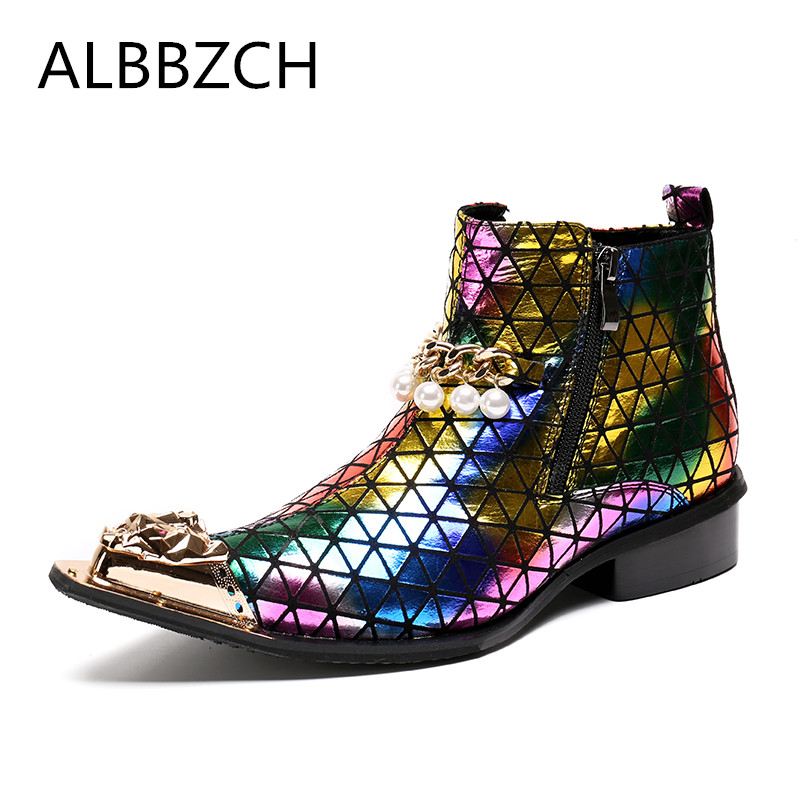 New mens fashion tassel printing leather career work boots men pointed toe ankle boots nightclub bar party shoes plus size 37 46New mens fashion tassel printing leather career work boots men pointed toe ankle boots nightclub bar party shoes plus size 37 46