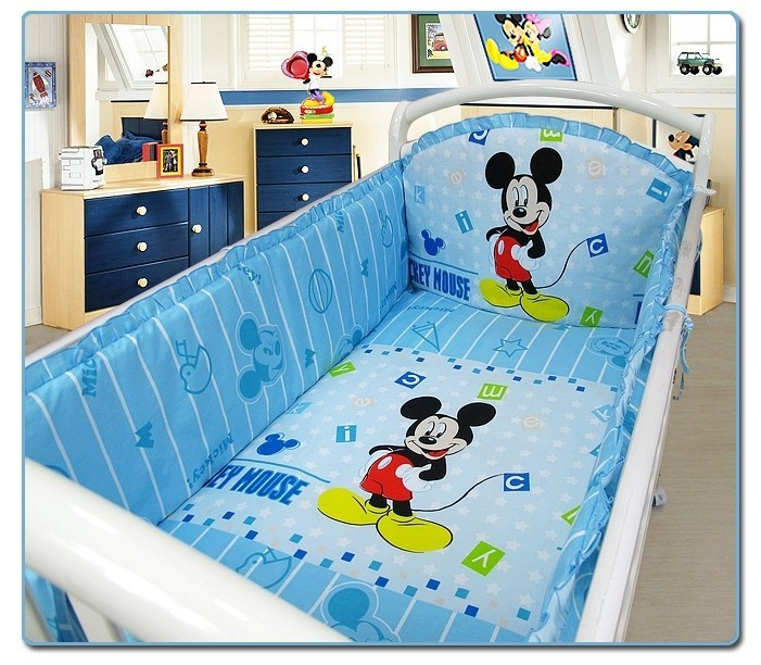 Promotion! 6PCS Cartoon 100% cotton baby bedding sets cover,baby bedding sets for crib set (3bumper+matress+pillow+duvet)