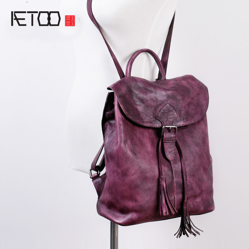 AETOO The new manufacturers of leather ladies shoulder bag imports the first layer of leather handmade retro female bag big back aetoo crazy horse skin large capacity shoulder bag male imports the first layer of leather handmade backpack female travel bag