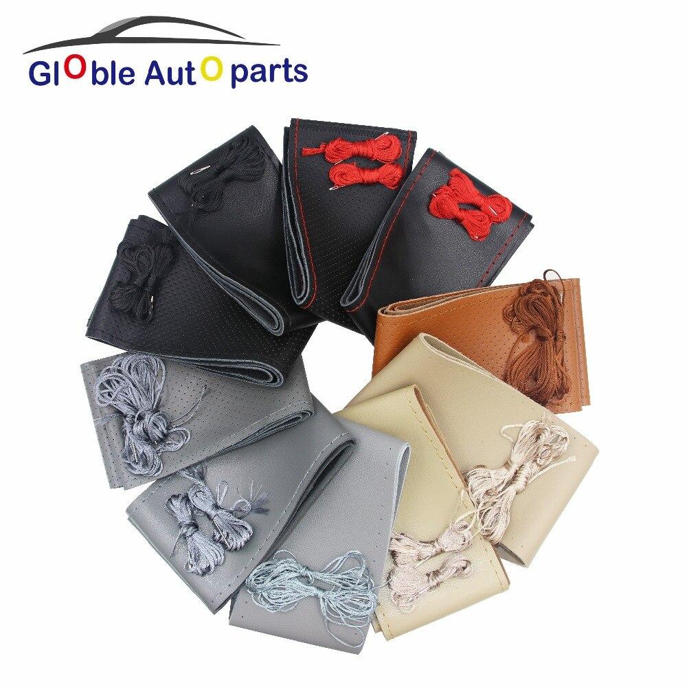 38M DIY Steering Wheel anti-slip Genuine Leather Steering Wheel Cover For Audi BMW Chevrolet Daewoo Leather Braid Accessories