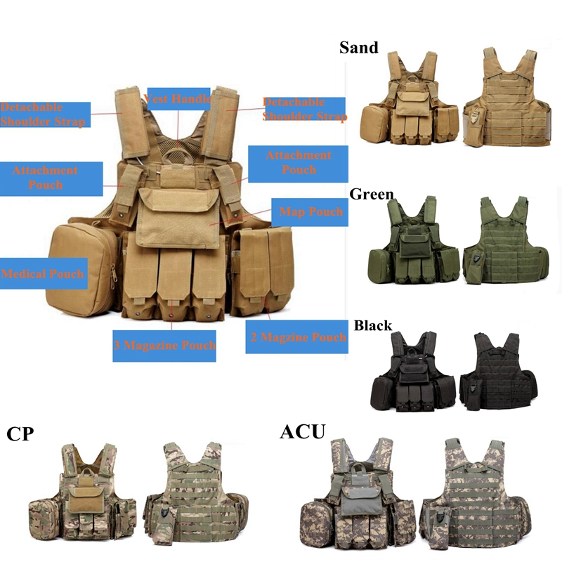 цена на Free Shipping Molle CIRAS Tactical Gear Airsoft Vest W/Magazine Pouch Utility Bag Releasable Armor Plate Carrier Strike Vests