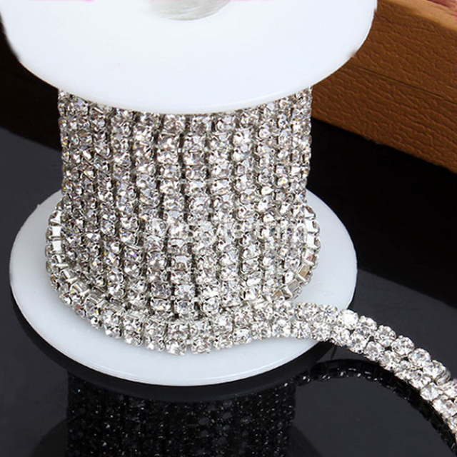 5yard Shiny Glass 2 Lines Rhinestones for Clothing Silver Crystal Chain Sew  on Appliques Trimming Sewing b58886c92e80