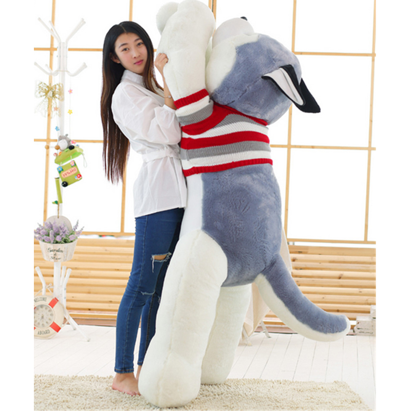 Fancytrader 71'' / 180cm Biggest Giant Plush Stuffed Husky Dog Toy, Nice Gift for Kids and Friends, Free Shipping FT50129 fancytrader 120cm super lovely jumbo plush shar pei dog toy large dog doll sleeping pillow gift for child free shipping ft50048