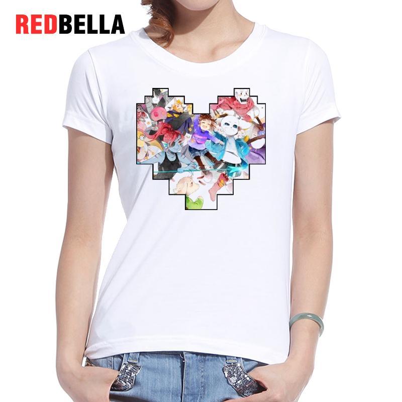 REDBELLA Fashion Harajuku Ulzzang Tee Shirt Femme Print Japan Anime Design White Cotton Short Sleeve Funny