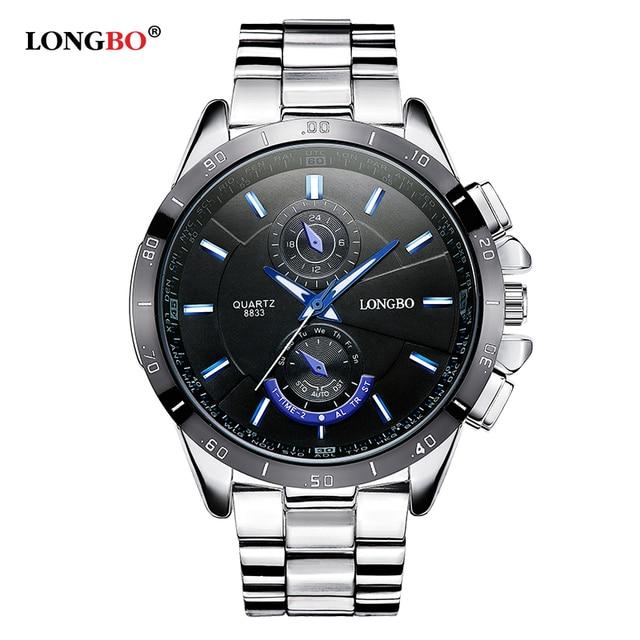 Famous brand business men watches luminous 2016 LONGBO full steel quartz watch men waterproof 30m male clock